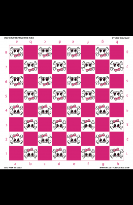 Pink Skulls  - Full Color Vinyl Chess Board