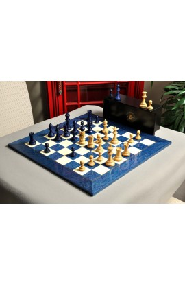 The Grandmaster Chess Set, Box, & Board Combination - Blue Gilded