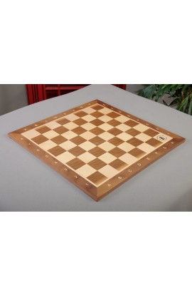 "IMPERFECT - Walnut and Maple Wooden Tournament Chess Board - 2.0"" Squares - w/Notation & Logo"