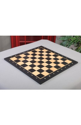 "Prototype - Wooden Tournament Chess Board - BLACK SATIN / MAPLE / BLACK SATIN FRAME - 1.875"" Squares"