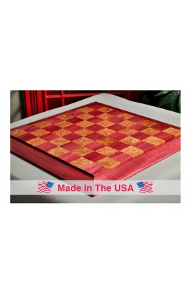 "Custom Contemporary Chess Board - Purpleheart / Maple Burl - 2.5"" Squares"