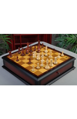 """IMPERFECT - The Collector Series Luxury Chess Pieces - 3.0"""" King - Padauk & Natural Boxwood"""