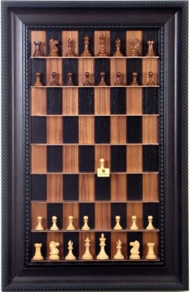 Straight Up Chess Board - Black Walnut Series with Brown Traditional Frame