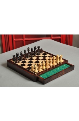 "WOODEN MAGNETIC Travel Chess Set - 10"" Square - Indian Rosewood and Maple"