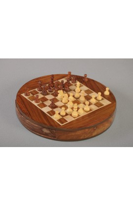 "IMPERFECT - Wooden Magnetic Travel Chess Set - 9"" Circle"