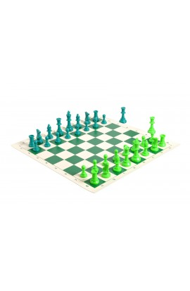2 Player Chess Set Combination - Single Weighted Regulation Colored Chess Pieces & Regulation Vinyl Chess Board