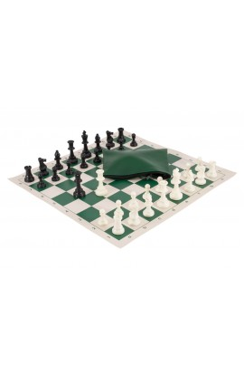 Basic Chess Set Combination - Single Weighted Regulation Pieces | Vinyl Chess Board | Basic Bag