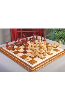 "IMPERFECT - The Arrezo Series Luxury Chess Pieces - 4.4"" King - Blood Rosewood & Natural Boxwood"