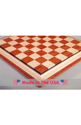 "Signature Contemporary III Luxury Chess Board - BUBINGA / BIRD'S EYE MAPLE - 2.5"" Squares"