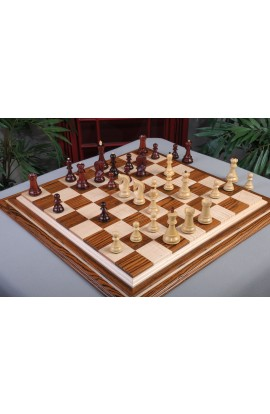"IMPERFECT - The Zagreb '59 Series Chess Pieces - 3.875"" King - Blood Rosewood & Natural Boxwood"