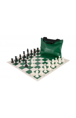 Standard Chess Set Combination - Triple Weighted Regulation Pieces | Vinyl Chess Board | Standard Bag