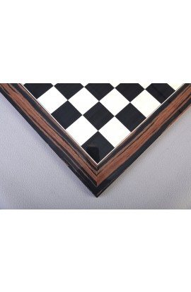 Macassar Ebony & Black Anegre Standard Traditional Chess Board - Gloss Finish