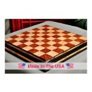 """Signature Contemporary Chess Board - RED AMBOYNA  / BIRD'S EYE MAPLE - 2.5"""" Squares"""