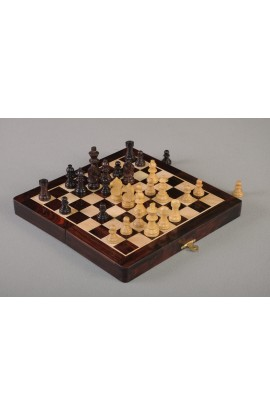 "IMPERFECT - FOLDING WOODEN MAGNETIC Travel Chess Set - 10"" - Indian Rosewood & Maple"