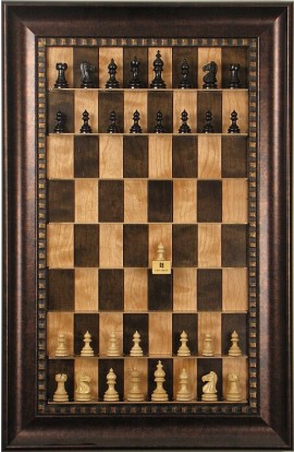 Straight Up Chess Board - Cherry Bean Series with Checkered Bronze Frame