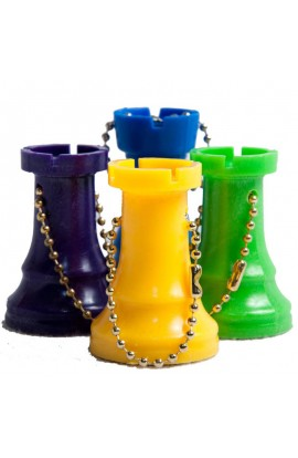 Plastic Chess Pieces Key Chains - Color Rook