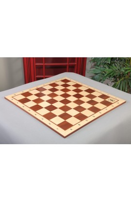 IMPERFECT - Maple and Mahogany Wooden Tournament Chess Board - 2.5 Squares w/Notation and Logo