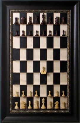 Straight Up Chess Board - Black Maple Series with Dark Bronze Frame