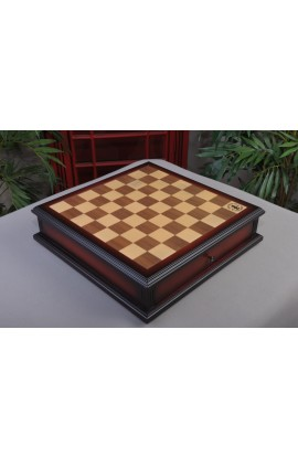 """IMPERFECT - Walnut and Maple Classical Tiroir Chessboard with Storage Drawers - 1.75"""" Squares"""