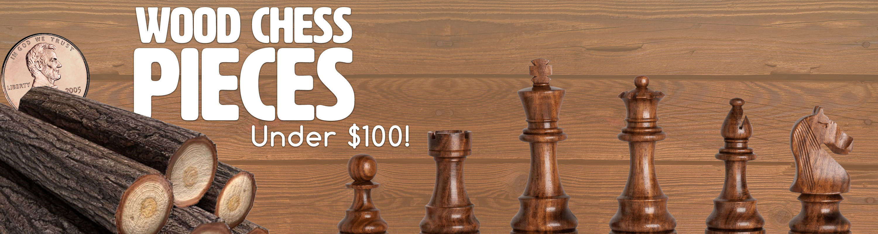 Wood Chess Pieces under $100
