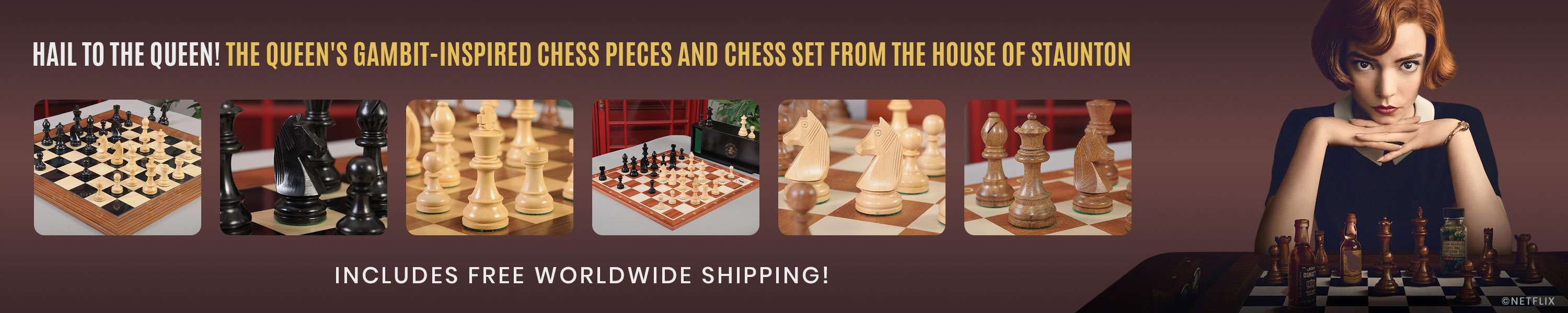 The Queen's Gambit-Inspired Chess Pieces and Chess Set from The House of Staunton